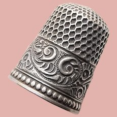 Antique Sterling Fancy Flourishes Design Sewing Thimble - Size 7 - Beaded Edge