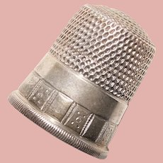 Antique Sterling Sewing Thimble - Simon Bros - Size 9