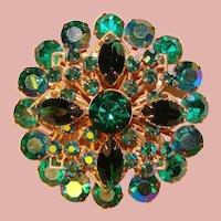 Fabulous GREEN & GREEN Aurora Vintage Rhinestone Brooch