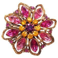 Gorgeous Pink Amber & Purple Rhinestone Vintage Brooch