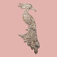 Fabulous ART DECO Rhinestone Bird Design Brooch