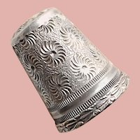 Antique Sterling Floral Flower Sewing Thimble