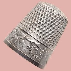 Antique Sterling Grapes Design Sewing Thimble - Webster - Size 12