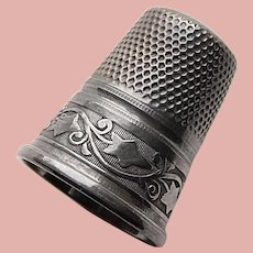 Antique Sterling Germany Ivy Design Sewing Thimble - Size 7