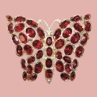 Fabulous Art Deco Era BUTTERFLY Design Vintage Red Rhinestone Brooch