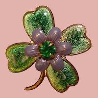 Gorgeous Enamel LUCKY CLOVER Vintage Rhinestone Brooch