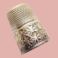 Antique Sterling Germany Flower Design Sewing Thimble - Size 8