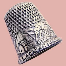 Antique Sterling House Windmill Boat Sewing Thimble - Size 5
