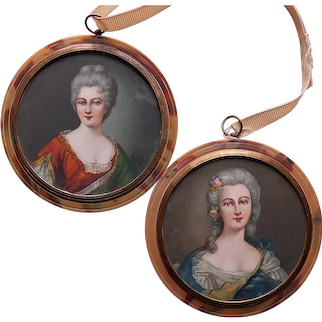 Antique French Lady Miniature Portrait Paintings - Lovely Ladies