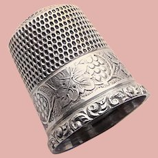Antique Sterling GRAPES Design Sewing Thimble - Simon Bros - Size 9