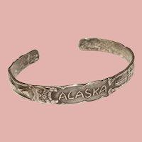 Fabulous ALASKA Sterling Animal Totem Design Vintage Cuff Bracelet