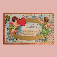 Antique CUPID on the Hunt Valentine Postcard