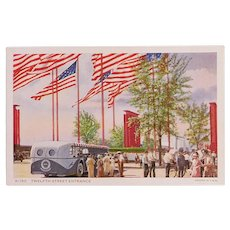 1934 Chicago Worlds Fair Exposition Twelfth Street Entrance Postcard - with American Flags