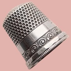 Antique Sterling Swirl Design Sewing Thimble - Ketcham & McDougall - Size 12