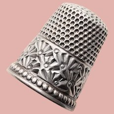 Antique Sterling Flower Design Sewing Thimble - Ketcham & McDougall - Size 9