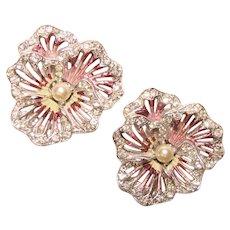 Fabulous BOUCHER Pansy Design Enamel Rhinestone Vintage Clip Earrings