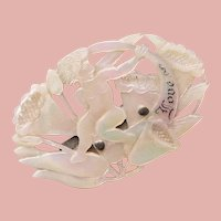 Fabulous CUPID Cherub Carved Mother of Pearl Antique Brooch - Victorian Era