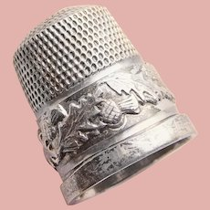 Hallmarked Sterling Thistle Design Sewing Thimble