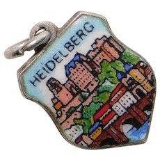 800 Silver & Enamel HEIDELBERG Charm - Souvenir of Germany - Travel Shield