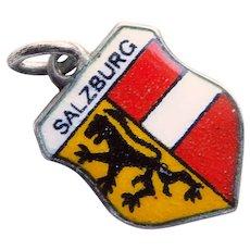 800 Silver & Enamel SALZBURG Charm - Souvenir of Germany - Travel Shield