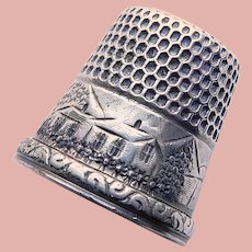 Antique Sterling Engraved House Design Sewing Thimble