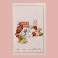 Antique Girl Sleeping with Doll & Teddy Bear Postcard