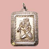 Awesome Sterling ST. CHRISTOPHER Vintage Medal Pendant Necklace
