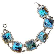 Fabulous BUTTERFLY WING Scenic Design Vintage Bracelet