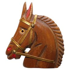 Fabulous HORSE HEAD Carved Wood 1940s Brooch