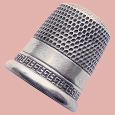 Antique Sterling Greek Key Design Sewing Thimble - Size 8