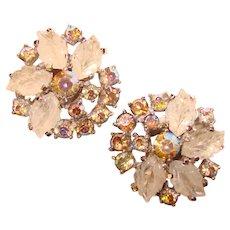 Fabulous JOMAZ Vintage Glass Leaf Stones & Rhinestone Vintage Clip Earrings