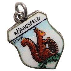 800 Silver & Enamel SQUIRREL Konigsfeld Charm - Souvenir of Schwarzwald Black Forest Germany - Travel Shield