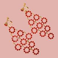 Fabulous RED RHINESTONE Long Vintage Dangle Clip Earrings