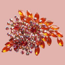 Fabulous ORANGE & Orange Aurora Rhinestone Vintage Brooch - Huge Large Runway Statement