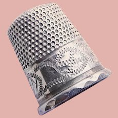 Antique Sterling Engraved Design Sewing Thimble - Chester England