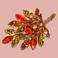 Fabulous REGENCY Signed Vintage Colored Navette Rhinestone Brooch