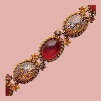 Fabulous FOIL GLASS Stones Vintage Bracelet