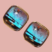 Gorgeous Butterfly Wing Palm Tree Design Vintage Clip Earrings