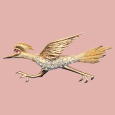 Awesome PANETTA Road Runner Bird Vintage Brooch