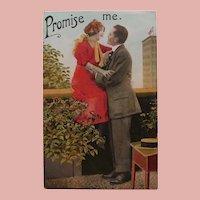 Antique Promise Me Postcard - Man & Lady