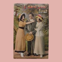 Antique Love Triangle I Saw You First Postcard - Man & Ladies