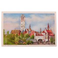 1934 Chicago Worlds Fair Exposition Belgian Village Postcard
