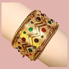 Fabulous BOUCHER Color Glass Stones Wide Vintage Bracelet