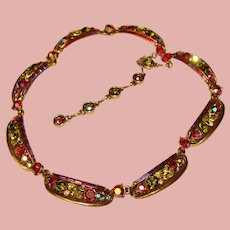 Fabulous HOLLYCRAFT Colored Rhinestones Necklace - Unsigned