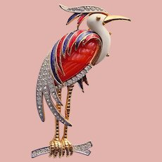 Fabulous Bird Enamel Lucite & Rhinestone Numbered Brooch - Hattie Carnegie Design - Heron or Crane