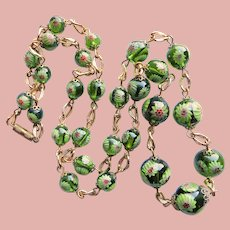 Fabulous Green MILLEFIORI GLASS Beads Vintage Necklace - Italy Italian