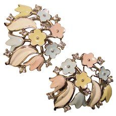 Fabulous TRIFARI Springtime Flowers Vintage Rhinestone Earrings