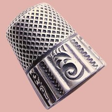 Antique Sterling Patterned Design Sewing Thimble - Ketcham & McDougall - Size 7