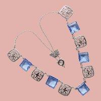 Fabulous ART DECO Filigree & Blue Glass Stones Necklace