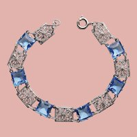 Fabulous ART DECO Filigree & Blue Glass Stones Bracelet